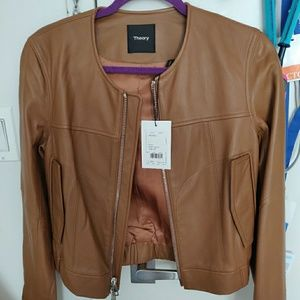 Theory Onorelle Collarless Leather Jacket -Small